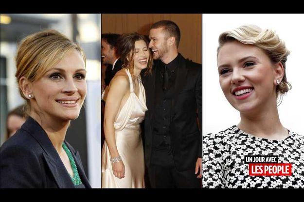 Julia Roberts, Jessica Biel et Justin Timberlake, et Scarlett Johansson.