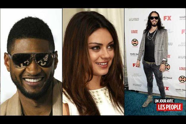 Usher, Mila Kunis et Russell Brand.