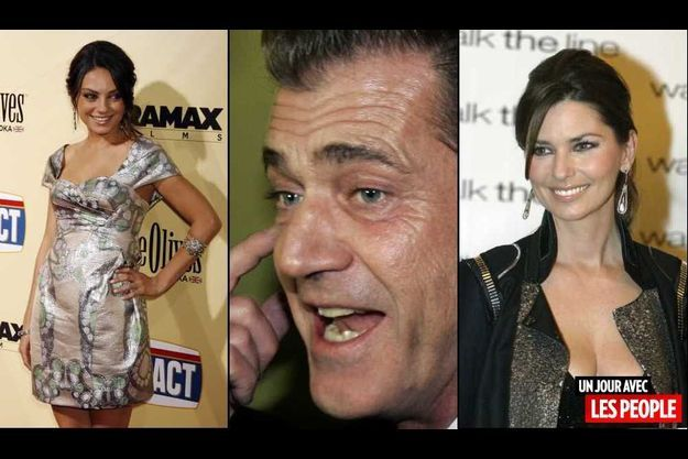 Mila Kunis Mel Gibson et Shania Twain.