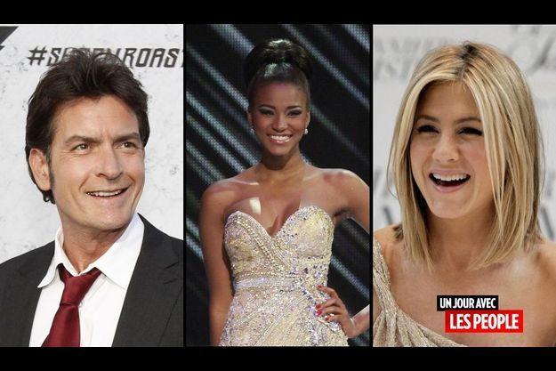 Charlie Sheen, Miss Univers 2011 Leila Lopes et Jennifer Aniston