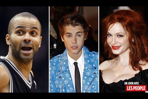 Tony Parker, Justin Bieber et Christina Hendricks.