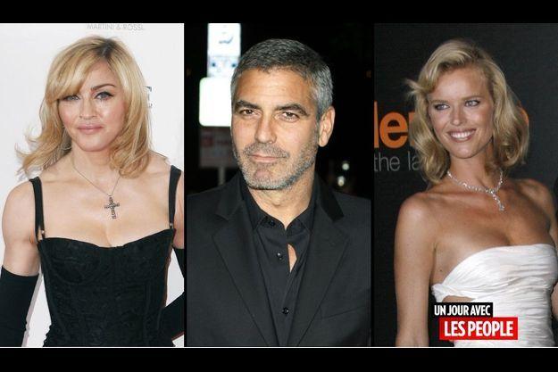 Madonna, George Clooney et Eva Herzigova