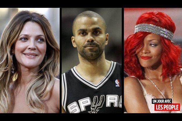 Drew Barrymore, Tony Parker et Rihanna.