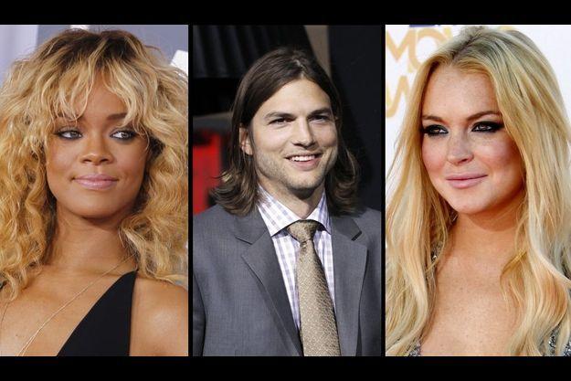 Rihanna, Ashton Kutcher et Lindsay Lohan