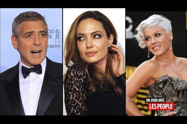 George Clooney, Angelina Jolie et Pink.
