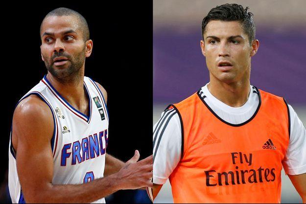 Tony Parker (G) et Cristiano Ronaldo (D) font partie des sportifs qui publient des messages financés par des multinationales sur Twitter.