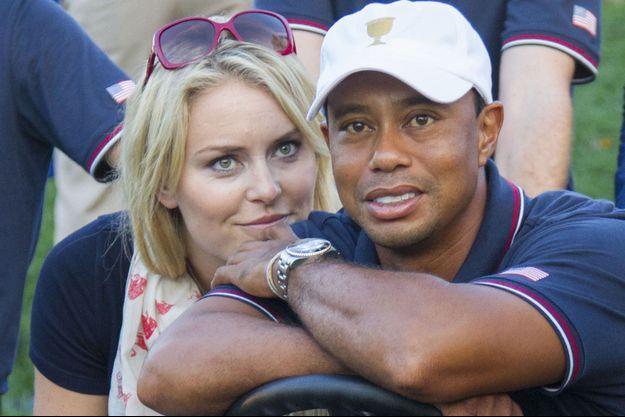Lindsey Vonn et Tiger Woods en octobre 2013.