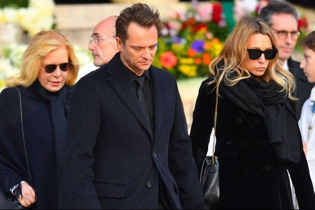Sylvie Vartan, David Hallyday et Laura Smet aux obsèques de Johnny Hallyday à Paris le 9 décembre 2017