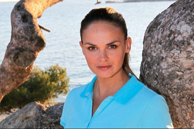 Géraldine Lapalus sur le tournage de Camping Paradis