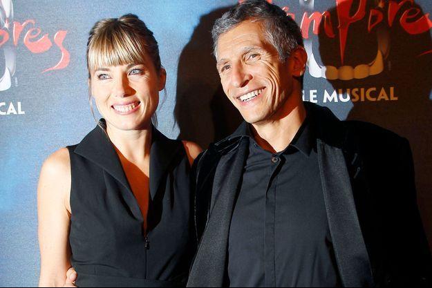 Nagui et sa femme Mélanie Page à Paris, le 16 octobre 2014