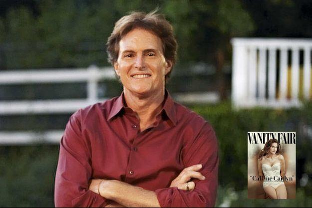 """Bruce Jenner en 2012. Derrière son sourire, un profond mal-être. En médaillon: Trois ans plus tard, en couverture de """"Vanity Fair"""": """"Appelez-moi Caitlyn""""."""