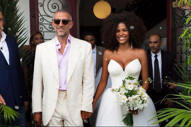 Vincent Cassel et Tina Kunakey le jour de leur mariage à Bidart le 24 août 2018