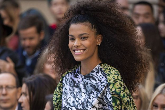 Tina Kunakey à la Fashion Week parisienne, le 28 septembre 2019.