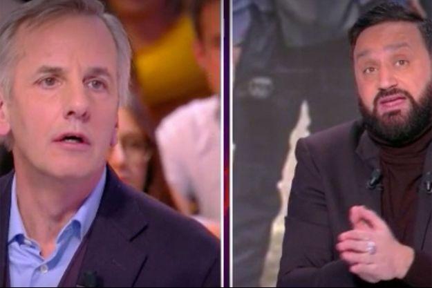"""Bernard de La Villardière et Cyril Hanouna sur le plateau de """"TPMP"""" lundi."""