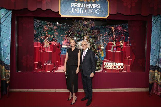 Uma Thurman et Paolo de Cesare, président du Printemps