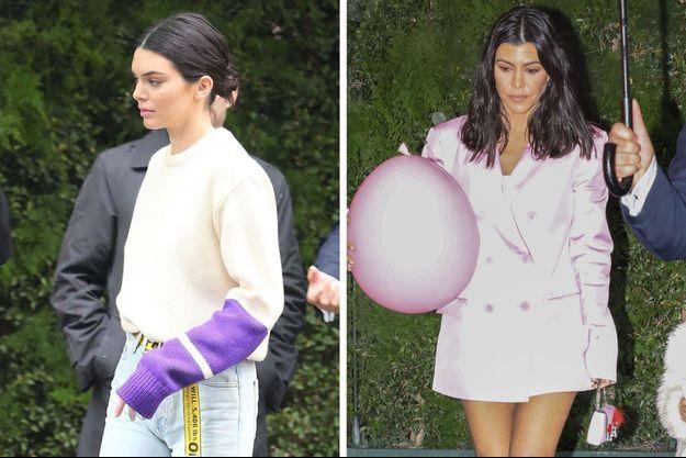 Kendall Jenner et Kourtney Kardashian arrivent à la «baby shower» de leur soeur, le 10 mars 2018 à Los Angeles.