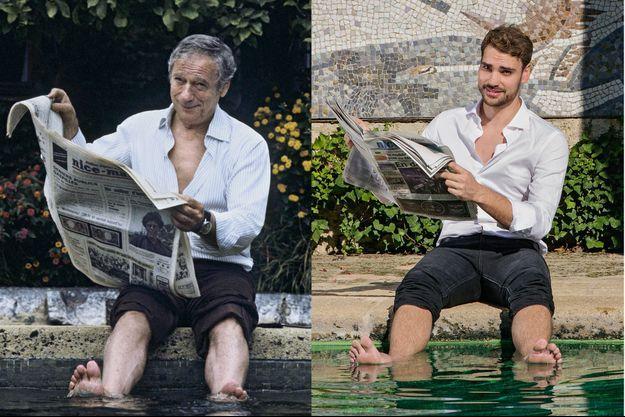 Yves Montand en juillet 1982, sous l'objectif de Jean-Claude Deutsch, six ans avant la naissance de son fils, au bord de la piscine de La Colombe d'or. Trente-quatre ans plus tard, Valentin avec son 1,93 mètre reprend la pose dans l'hôtel mythique.