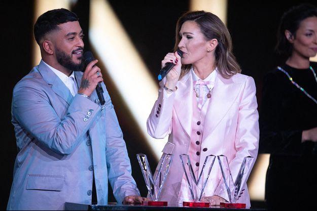 Slimane et Vitaa lors des Victoires de la musique, vendredi, à Boulogne-Billancourt.