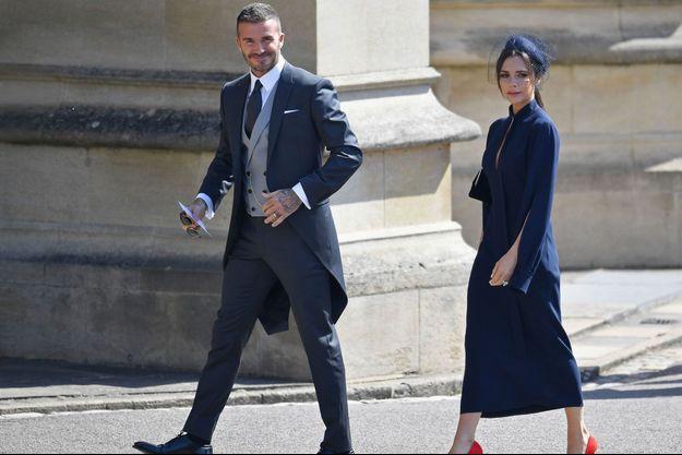 David et Victoria Beckham à la chapelle St. George pour le mariage du prince Harry et de Meghan Markle le 19 mai 2018