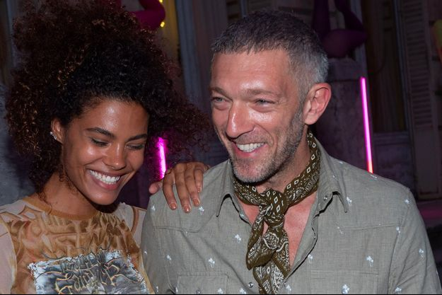 Vincent Cassel et Tina Kunakey à Paris, le 4 juillet 2018