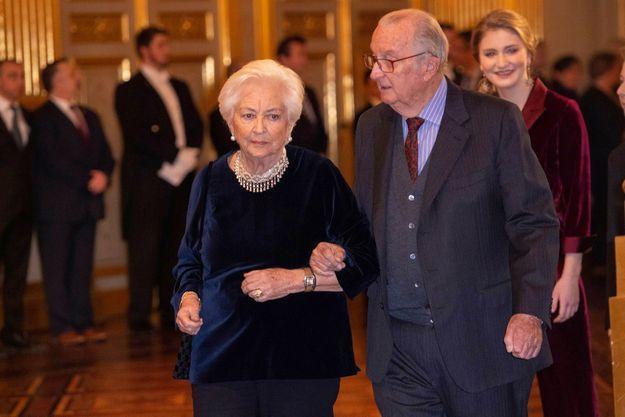 L'ex Roi Albert et son épouse Paola, au palais Royal, à Bruxelles, le 18 décembre 2019.