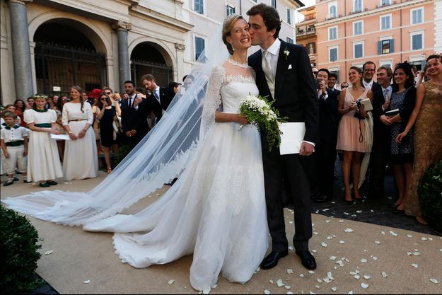 Le prince Amedeo de Belgique et Lili le jour de leur mariage à Rome, le 5 juillet 2014