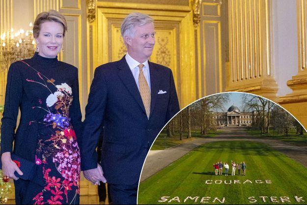 La reine Mathilde et le roi des Belges Philippe à Bruxelles le 18 décembre 2019. En vignette avec leurs enfants, vidéo diffusée le 5 avril 2020