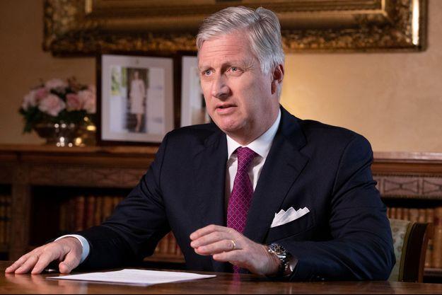 Le roi Philippe lors de son allocution télévisée aux Belges à propos du coronavirus, le 16 mars 2020