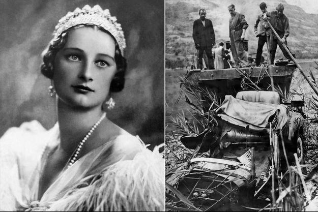 La reine des Belges Astrid en septembre 1933 - La voiture du roi des Belges Léopold III accidentée