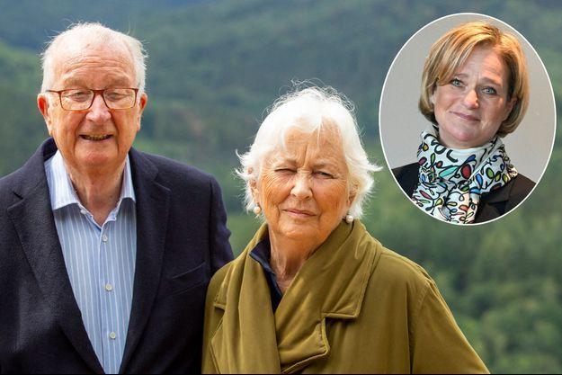 L'ancien roi des Belges Albert II et l'ancienne reine Paola, le 28 juin 2020. En vignette : la princesse Delphine de Saxe-Cobourg, le 10 décembre 2020