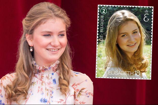 La princesse héritière Elisabeth de Belgique, le 21 juillet 2019 - En vignette, le timbre de ses 18 ans