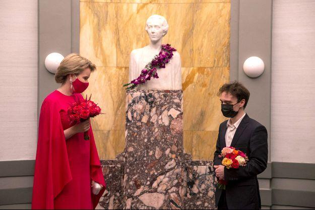 La reine des Belges Mathilde et Jonathan Fournel à Bruxelles, le 29 mai 2021