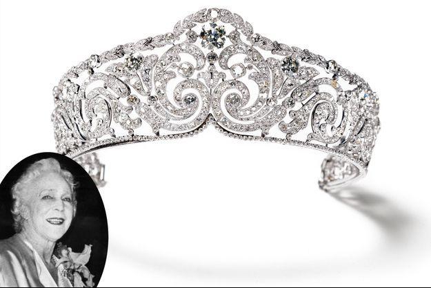 Le diadème Cartier de la reine des Belges Elisabeth. En vignette : l'ancienne reine des Belges Elisabeth dans les années 1960