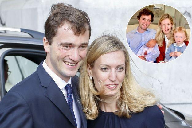 Le prince Amedeo de Belgique et sa femme la princesse Elisabetta, le 8 septembre 2018. En vignette, avec leurs enfants en septembre 2019