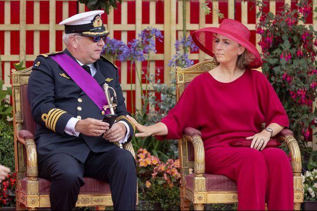 Le prince Laurent et la princesse Claire de Belgique, le 21 juillet 2019