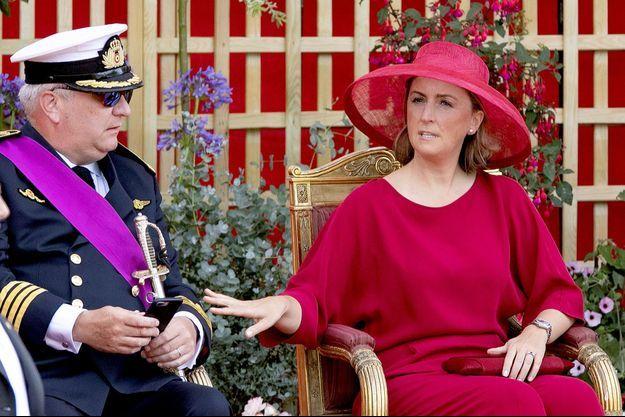 Le prince Laurent de Belgique et sa femme la princesse Claire à Bruxelles, le 21 juillet 2019