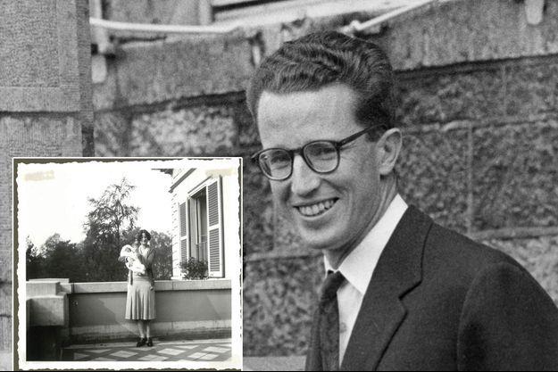 Le roi des Belges Baudouin en septembre 1960. En vignette, bébé dans les bras de sa mère, la princesse Astrid de Suède, épouse du prince Léopold de Belgique