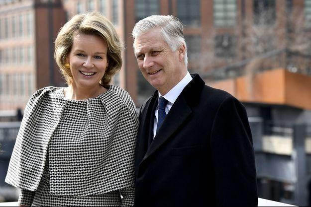 Le roi des Belges Philippe avec sa femme la reine Mathilde à New York le 12 février 2020