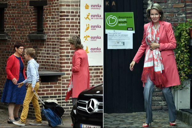 La reine Mathilde de Belgique et son fils le prince Emmanuel à Kessel-Lo le 4 septembre 2017