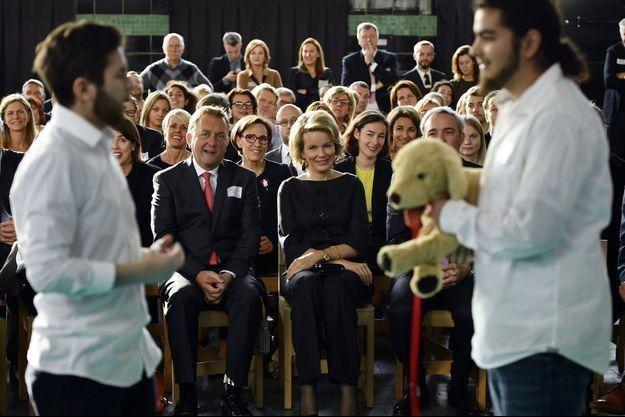 La reine Mathilde de Belgique à Forest, le 10 novembre 2016