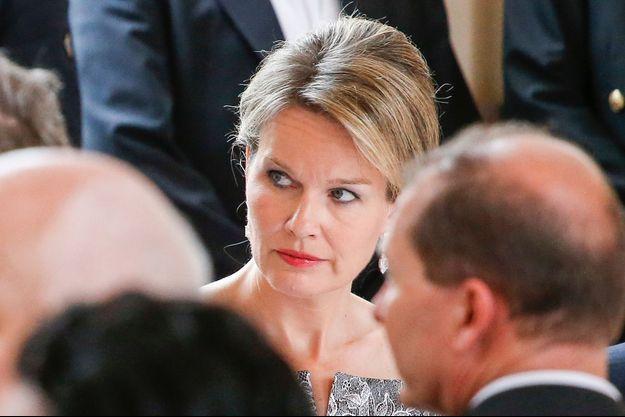 La reine Mathilde de Belgique lors d'une réception au château de Laeken à Bruxelles, le 13 juin 2016
