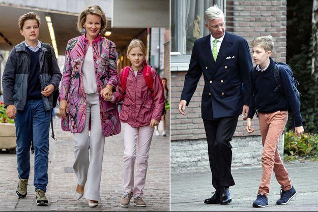 La reine Mathilde de Belgique avec le prince Gabriel et la princesse Eléonore à Bruxelles, le roi des Belges Philippe avec le prince Emmanuel à Kessel-Lo, le 3 septembre 2018