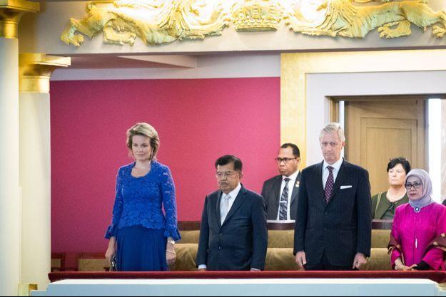 La reine Mathilde de Belgique et le roi des Belges Philippe à Bruxelles, le 10 octobre 2017