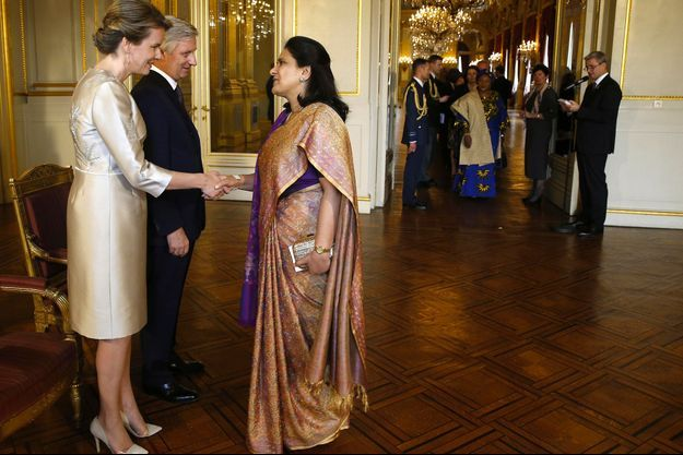 La reine Mathilde et le roi Philippe de Belgique à Bruxelles, le 16 janvier 2018