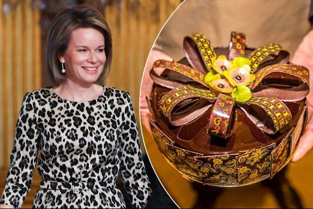 La reine Mathilde de Belgique le 18 janvier 2018. A droite, le gâteau pour son 45e anniversaire fait par Hans Martens