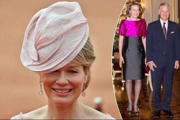 La reine Mathilde de Belgique le 7 novembre 2017 - A droite, avec le roi des Belges Philippe le 11 janvier 2018
