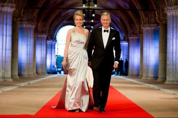 Philippe et Mathilde à Amsterdam le 29 avril, la veille du couronnement du roi Willem-Alexander