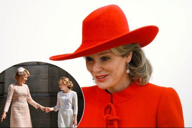 La reine Mathilde de Belgique, le 29 novembre 2016. En vignettte, avec sa fille la princesse Elisabeth, le 21 juillet 2016