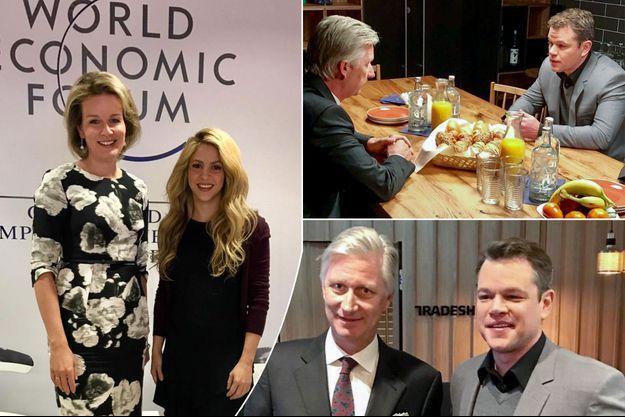 La reine Mathilde de Belgique avec Shakira et le roi des Belges Philippe avec Matt Damon, à Davos le 18 janvier 2017
