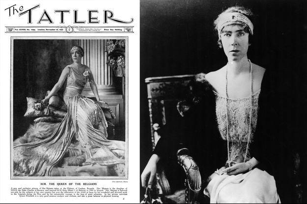 """La reine des Belges Elisabeth, en couverture de """"The Tatler"""" dans les années 1930. A droite, vers 1925"""